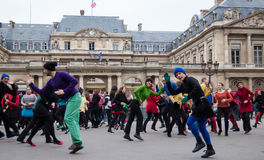 Flash mob dance in Paris Stock Photo