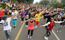 Flash mob. Thousand of people doing flash mob in solo, central java, indonesia royalty free stock images
