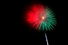 Flash red and green fireworks and red and green smoke Stock Photo