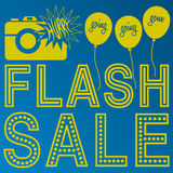 Flash Sale announcement. Three-color Flash Sale announcement with camera and ballons Royalty Free Stock Photography