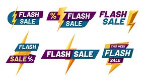 Flash sale badges. Lightning bolt offer, flashes sales badge and trendy shopping offers vector illustration set. Flash sale badges. Lightning bolt offer, flashes royalty free illustration