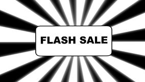 Flash sale banner animated on black and white sunburst background