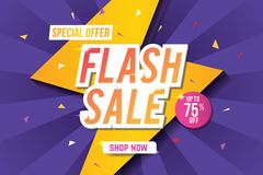 Flash sale banner template design. Abstract sale banner. Vector illustration. Flash sale banner template. Sale banner design with abstract background. Web stock illustration