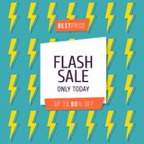 Flash Sale banner template design, Big sale special up to 80 percent off. Vector illustration. Flash Sale banner template design, Big sale special up to 80 Royalty Free Stock Photos