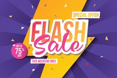 Flash sale banner template design. Abstract sale banner. Vector illustration. Flash sale banner template. Sale banner design with abstract background. Web vector illustration