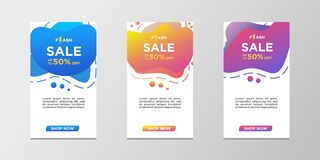 Flash sale banners with abstract dynamic modern liquid color. Sale banner template design, can use for mobile app, website, flash stock illustration