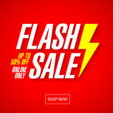 Flash sale bright banner or poster. One day big sale, special offer, clearance Royalty Free Stock Photos