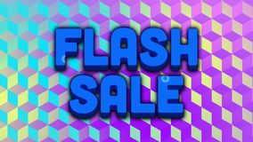 Flash sale graphic with swirls on blue and purple cube shapes