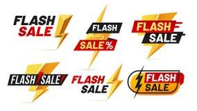Flash sale. Mega sales lightning badges, best deal lightnings poster and buy only today offer badge vector illustration. Flash sale. Mega sales lightning badges vector illustration