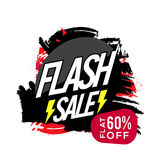 Flash Sale Poster, Banner or Flyer design. Flash Sale Poster, Sale Banner or Flyer design, Flat 60% Off, Abstract Sale background with brush stroke, Creative Royalty Free Stock Photography