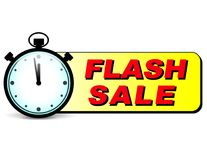 Flash sale text with stopwatch. Illustration of flash sale text with stopwatch Royalty Free Stock Image