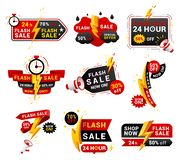 Free Flash Sales Shopping Promotional Labels Vector Set Royalty Free Stock Photos - 157720908