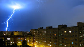 Storm clouds and lightning flash Royalty Free Stock Image