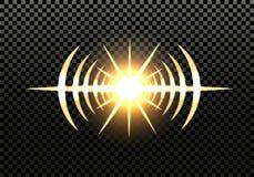 Flash solar, estrella, luz del reflector, linternas del coche Efecto luminoso en un fondo transparente Ilustración Imagenes de archivo