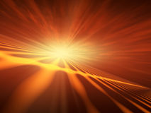 Flash Star Red Horizon. An abstract illustration background of a bright star flash on a technology grid horizon stock illustration