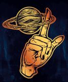 Flash style human hand spinning Saturn planet. Stock Photos