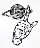 Flash style human hand spinning Saturn planet. Flash Astronomy. Human hand, finger spinning Saturn space planet, celestial drawing. Dotwork ink tattoo vintage Royalty Free Stock Images