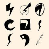 Flash symbols. Set of lightning icons and flash symbols Stock Photo