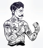 Flash tattoo boxer fighter, player vintage style. Stock Photo