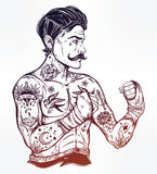 Flash tattoo boxer fighter, player vintage style. Royalty Free Stock Photography