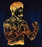Flash tattoo boxer fighter, player vintage style. Stock Photography