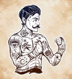 Flash tattoo boxer fighter, player vintage style. Stock Images