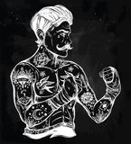 Flash tattoo boxer fighter, player vintage style. Stock Photos