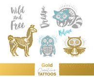 Metallic temporary tattoos. Gold, silver sugar skull hand drawn set. Flash tattoo gold, silver and blue sugar skull of penguin, raccoon, owl and llama. Gold Stock Photography