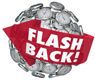 Flashback Arrow Clocks Sphere Looking Back Nostalgia Memories. Flash Back words on a red arrow turning back time to look on old memories or revisit past Stock Image