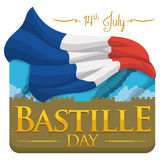 Flashback View of Bastille to Commemorate French Independence, Vector Illustration Royalty Free Stock Images