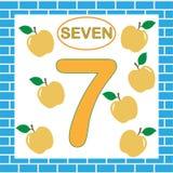 Flashcard με τον αριθμό 7 επτά μπλε εικονίδιο εκπαίδευσης παιδιών ελεύθερη απεικόνιση δικαιώματος