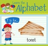 Flashcard alfabet T är för rostat bröd Royaltyfri Fotografi