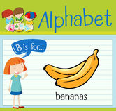 Flashcard alphabet B is for bananas Stock Image