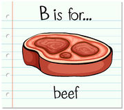 Flashcard alphabet B is for beef Royalty Free Stock Image