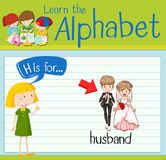 Flashcard alphabet H is for husband Royalty Free Stock Image