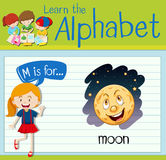 Flashcard alphabet M is for moon Royalty Free Stock Images