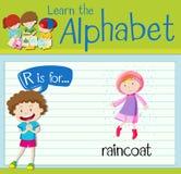 Flashcard alphabet R is for raincoat Stock Photos