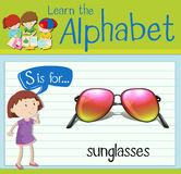 Flashcard alphabet S is for sunglasses Royalty Free Stock Images