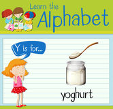 Flashcard alphabet Y is for yoghurt. Illustration Stock Image