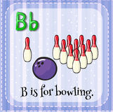 Flashcard of B is for bowling Stock Photography