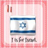 Flashcard bokstav I är för Israel Royaltyfria Bilder