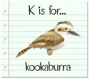 Flashcard bokstav K är för skrattfågel royaltyfri illustrationer