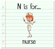 Flashcard bokstav N är för sjuksköterska Arkivbilder
