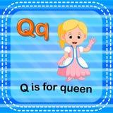 Flashcard bokstav Q är för drottning royaltyfri illustrationer