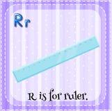Flashcard bokstav R är för linjal Arkivfoto