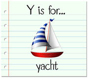 Flashcard bokstav Y är för yacht vektor illustrationer