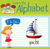 Flashcard bokstav Y är för yacht stock illustrationer