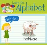 Flashcard bokstavsH är för herbivor stock illustrationer