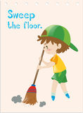 Flashcard of boy sweeping floor Stock Photos