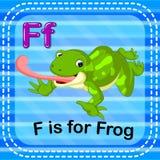 Flashcard-Buchstabe F ist für Frosch lizenzfreie abbildung